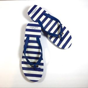 COACH blue & white stripe platform wedge thongs 9